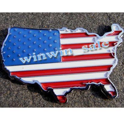 US National Flag Car Decor 3D Decal Emblem 3M Metal Car Sticker