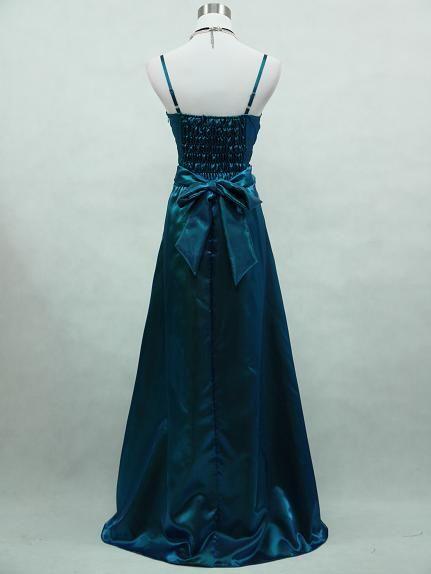 CHERLONE Satin Blue Sparkle Long Prom Ball Wedding Evening Gown
