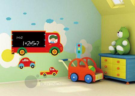 Transport Blackboard Boy Girl Kids Wall Stickers Children Wallpaper