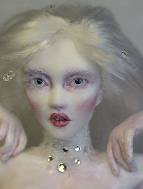 Winter Fairy Art Doll Sculpture One of A Kind by Barbara Kee