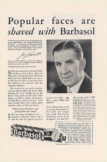 James J Corbett Gentleman Jim Barbasol Shaving Cream Photo Print Ad
