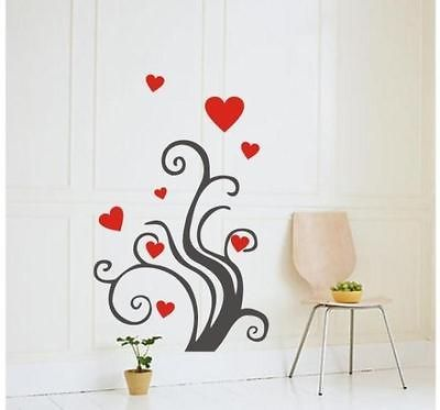 Love Heart Tree Plant Decor Mural Art Wall Sticker Decal Y308 (various