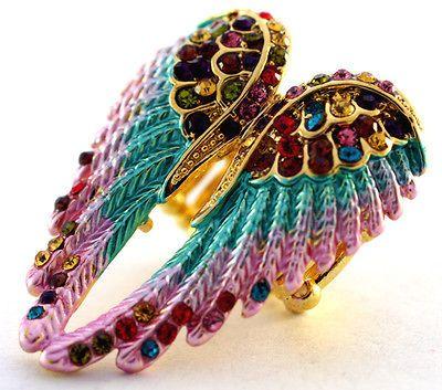 Multi color swarovski crystal stretchy ring angel wing,10 item free