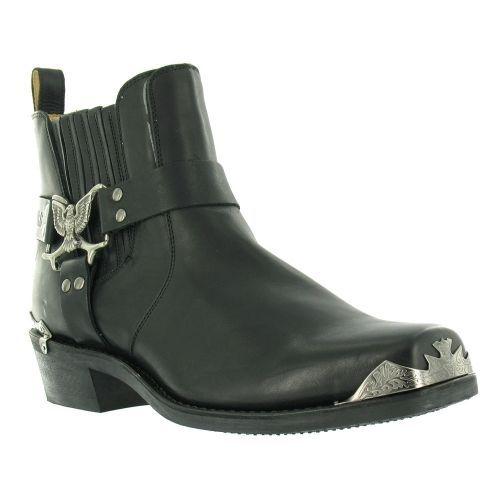 Grinders Mens Eagle Low Cowboy Black Biker Leather Western New Boots