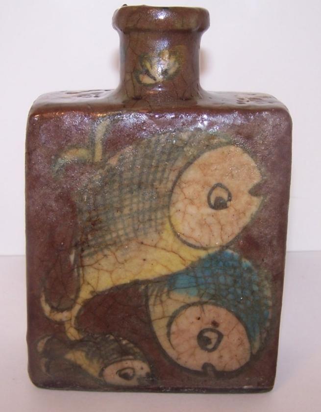 Antique Persian Pottery Flask Cross Hatch Fish Motif Bottle Vase Brown