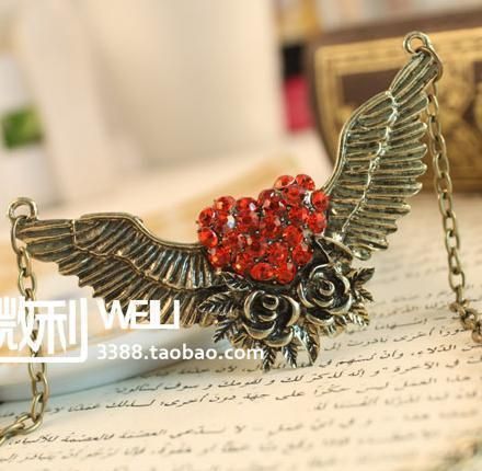 Vintage Bronze Flower Angel Wing Crystal Heart Valentines Necklace