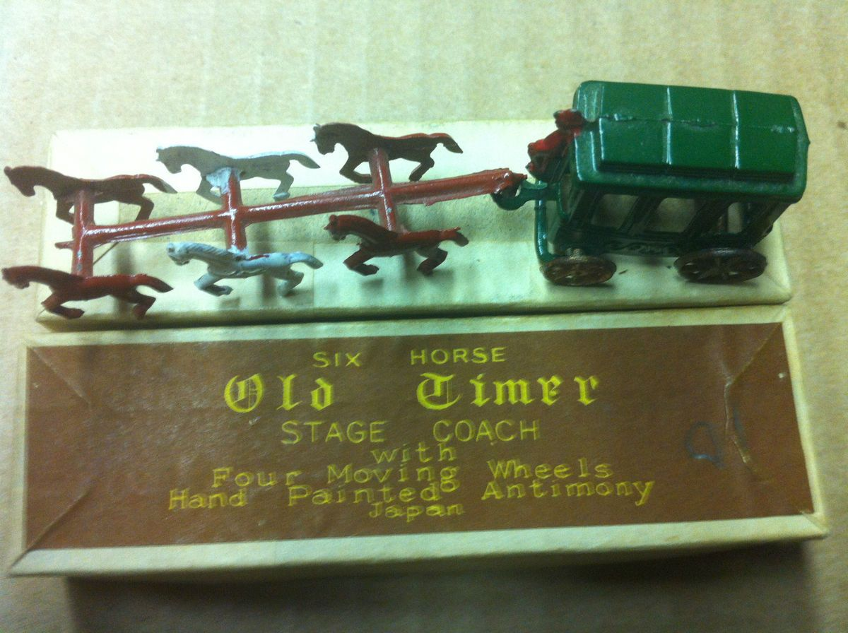 Old Timer Stage Coach Hand Painted Antimony 4 Moving Wheels Box
