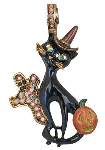 Kirks Folly Black Cat Magnetic Enhancer Halloween Goldtone