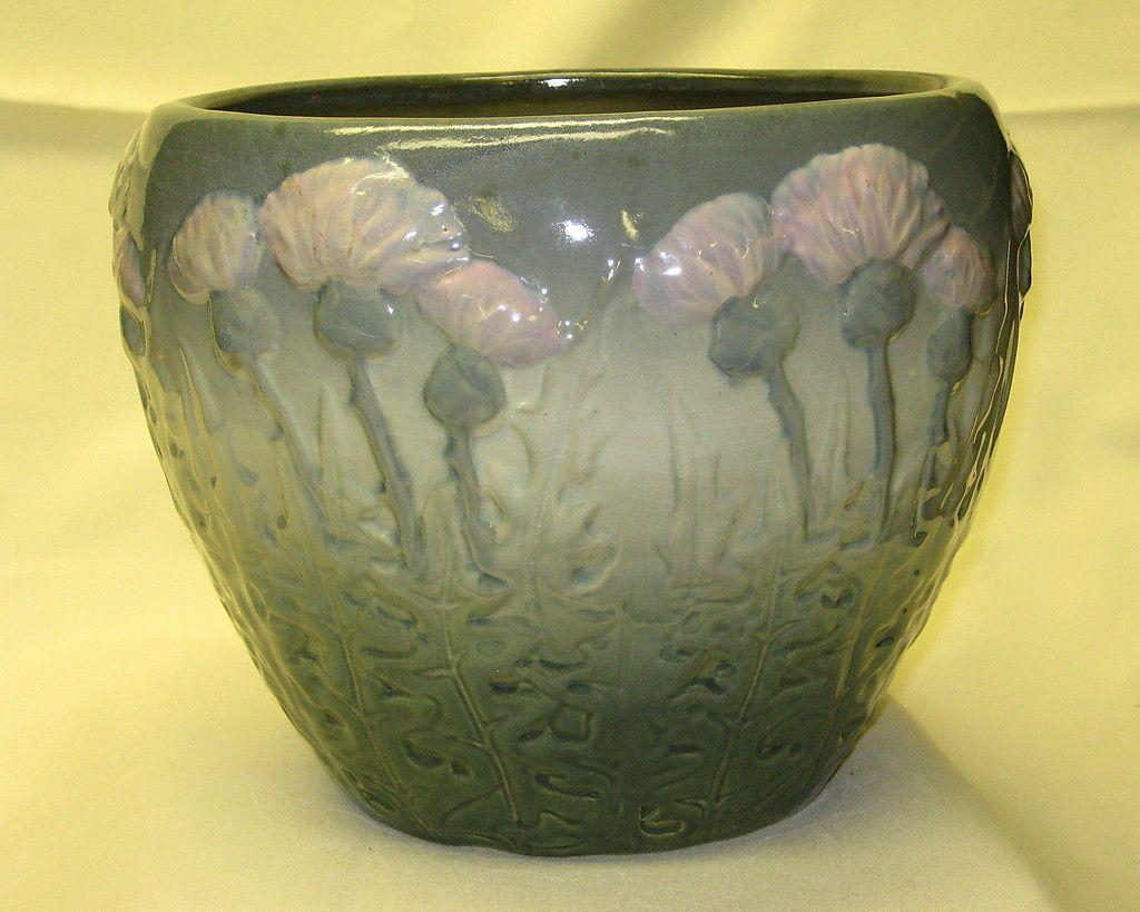Antique Weller American Art Pottery *Thistle* Arts & Crafts Jardiniere