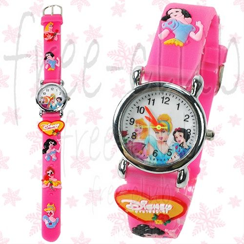 Disney Princess Snow White Aurora 3D Pink Wrist Watch