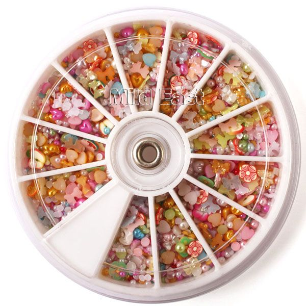1200 Pcs Nail Art Rhinestone Mixed Shape Baby Pearl Fimo Flower