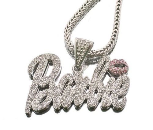 Nicki Minaj Barbie Iced Out Pendant Chain Silver Necklace