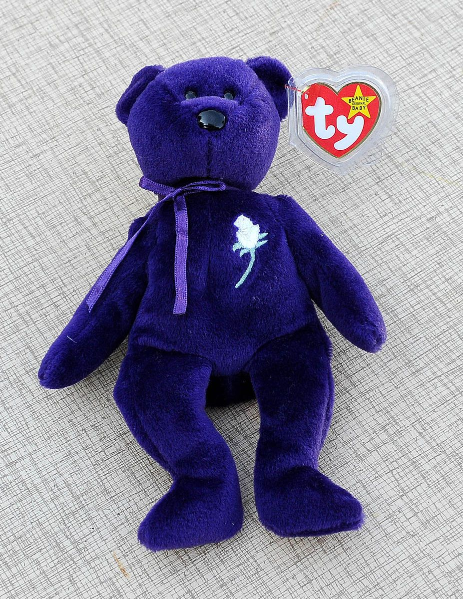 Ty Beanie Baby Babies Princess Diana Di Purple Bear with White Rose