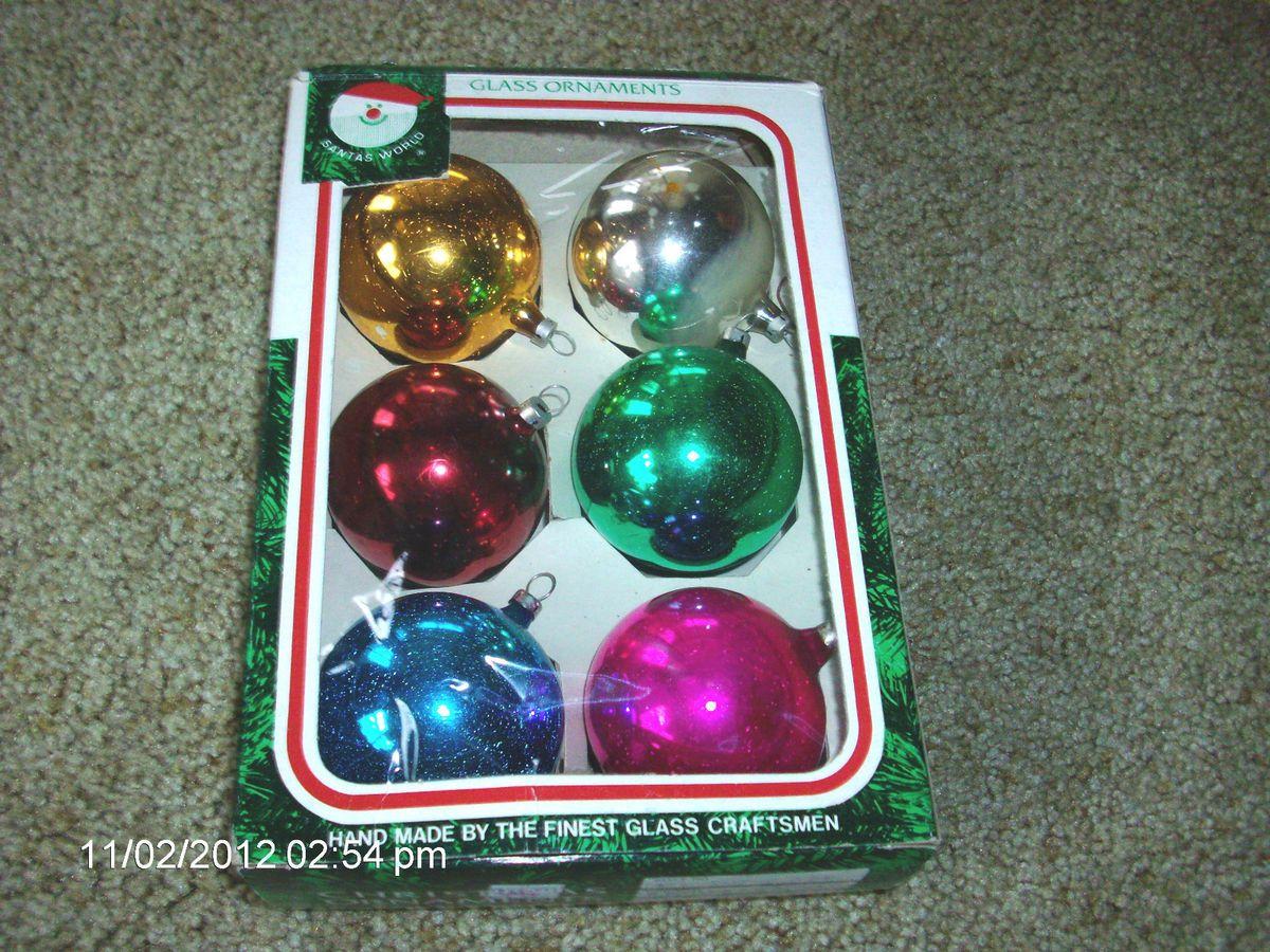 VTG SANTAS WORLD COLORED GLASS CHRISTMAS TREE ORNAMENTS