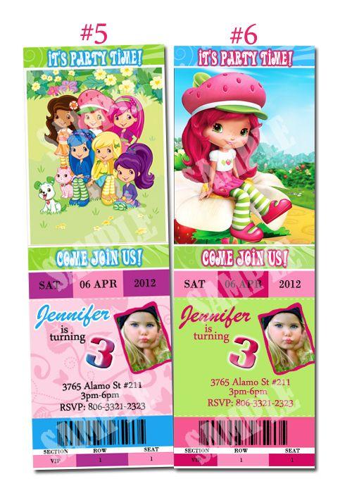Strawberry Shortcake Custom Birthday Party invitation digital