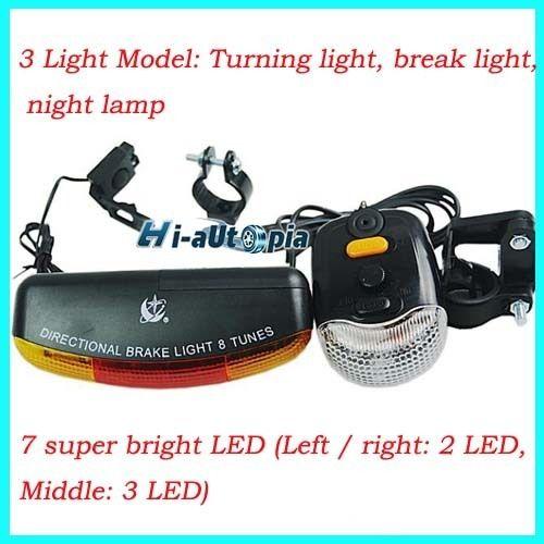 New 3 in 1 Bicycle Bike Cycling 7 LED Turn Signal Brake Light Lamp