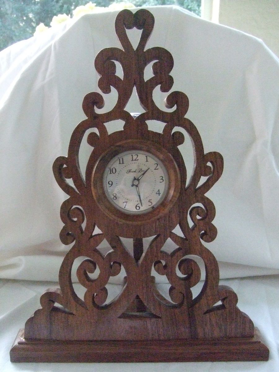 Handmade Solid Wood Black Walnut Scrolled Desk Clock
