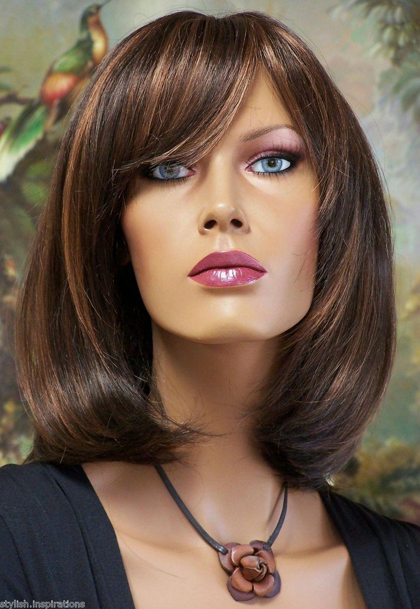 Sleek Sexy Bob Dark Brown Light Auburn High Quality Wig Hair Plus