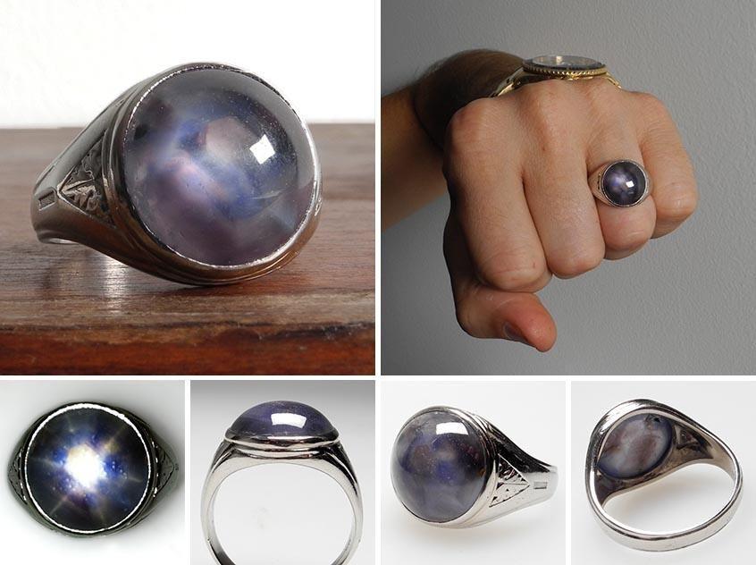 vintage estate mens natural blue star sapphire cabochon ring solid