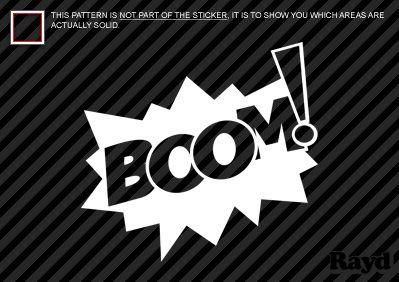 2X Boom Sticker Decal Die Cut Vinyl on Board Boom Comic Book Style