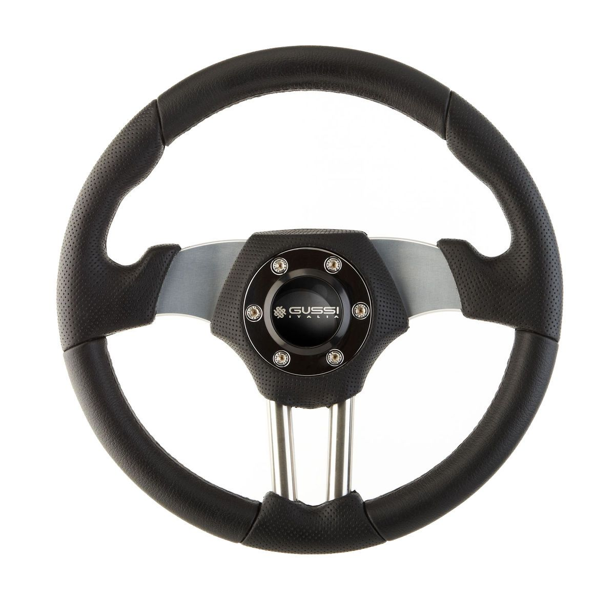New Gussi Boat Steering Wheel Stainless Steel and Aluminum Black Rim