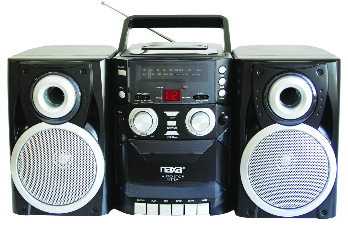 naxa portable cd player am fm stereo radio cassette recorder speakers. Black Bedroom Furniture Sets. Home Design Ideas