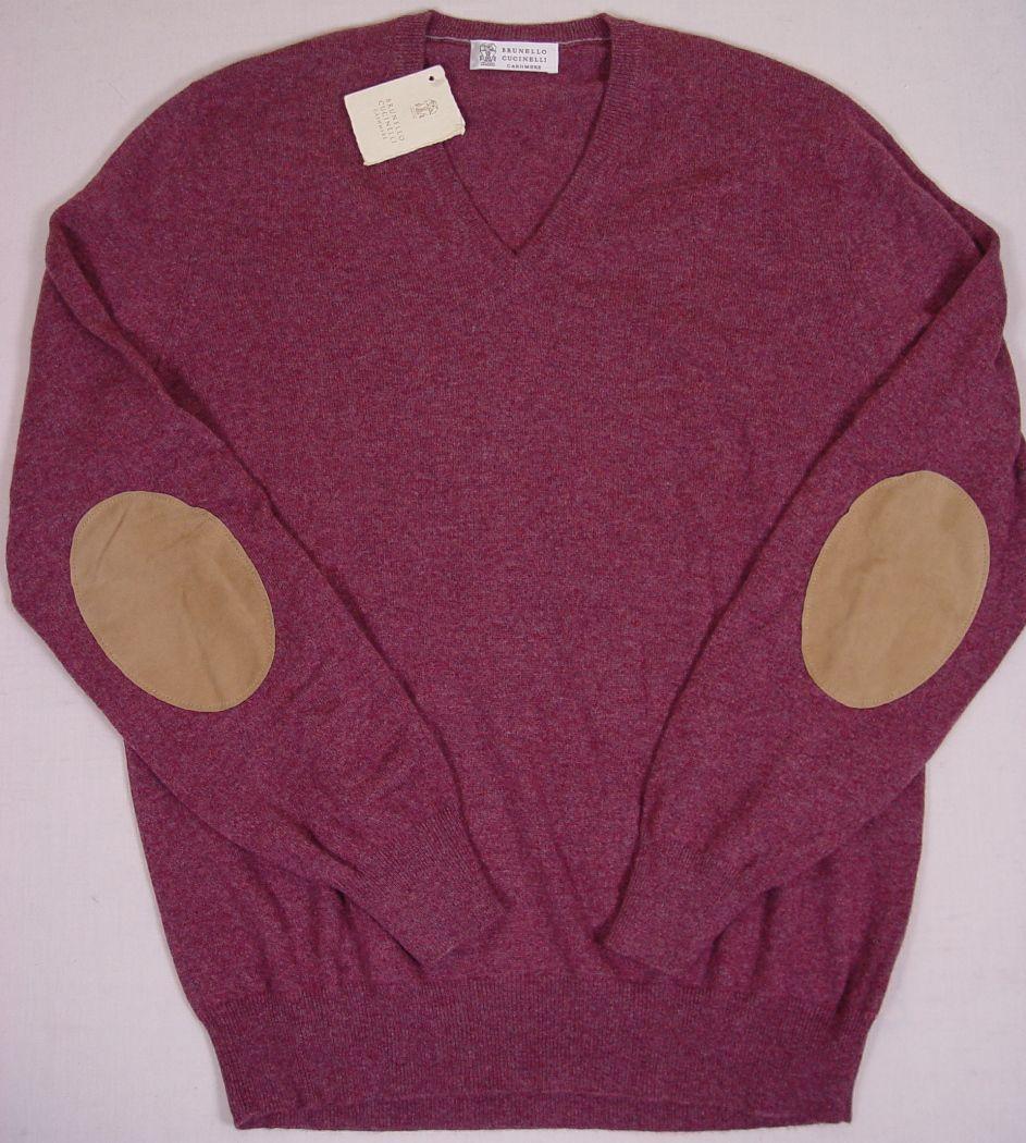 Brunello Cucinelli Sweater Bordeaux 100 Cashmere Leather Elbow V Neck