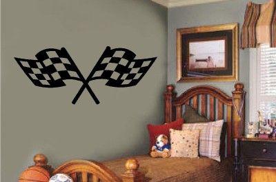 Checkered Racing Flags Vinyl Decal Wall Sticker Teen Boy Room Garage