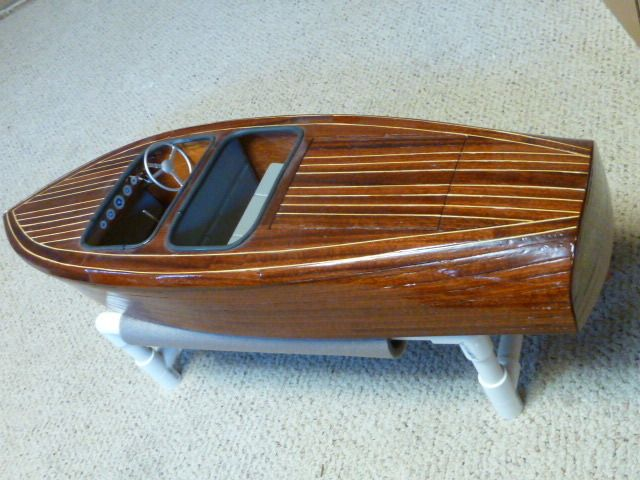 Dumas Chris Craft Model Wooden Boat Completed for Display