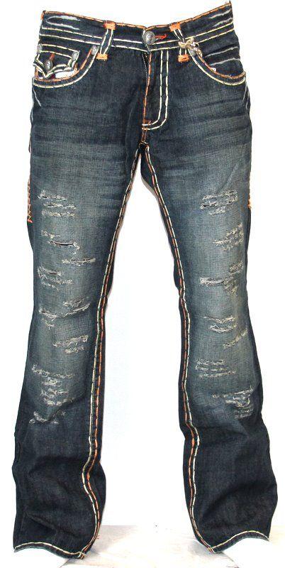 Mens Laguna Beach Jeans Corona Del Mar Boot Cut Orange Stitch 34
