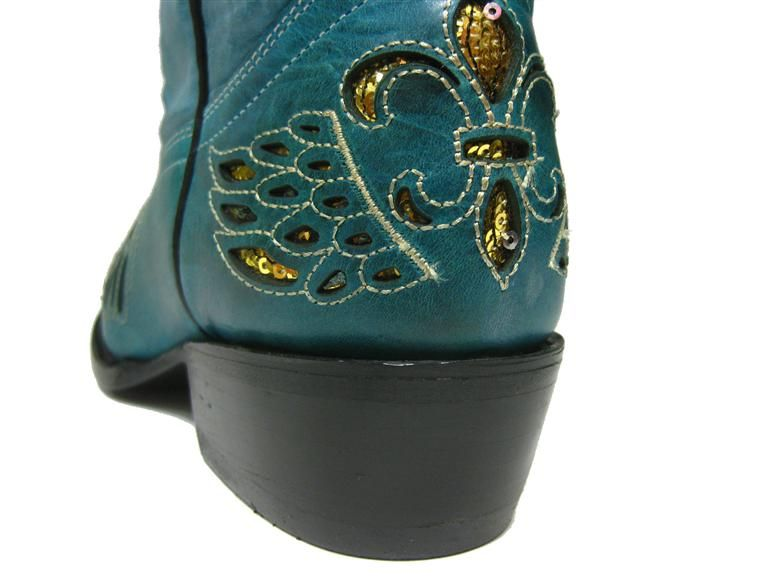 Womens Ladies Turquoise Leather Western Cowboy Boots with Wings