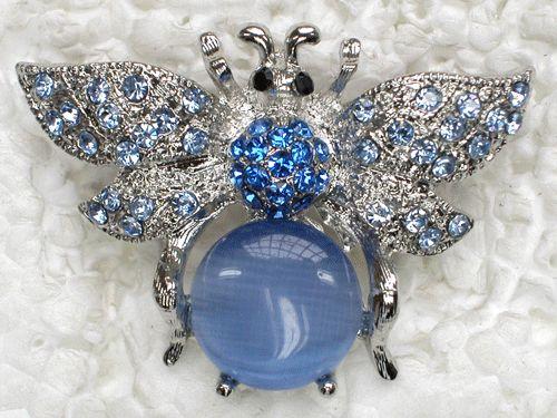 Blue Rhinestone Crystal Bumblebee Bee Pin Brooch UU