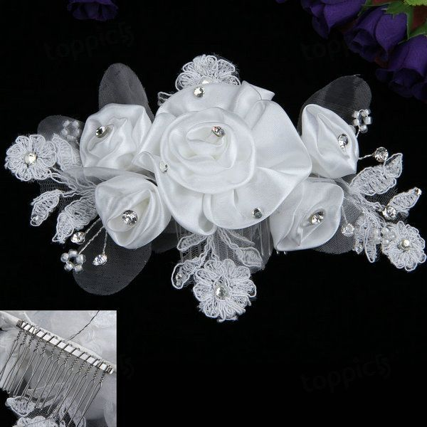 Organza Flower Pearl Rhinestone Crystal Bridal Wedding Tiara Hair Comb