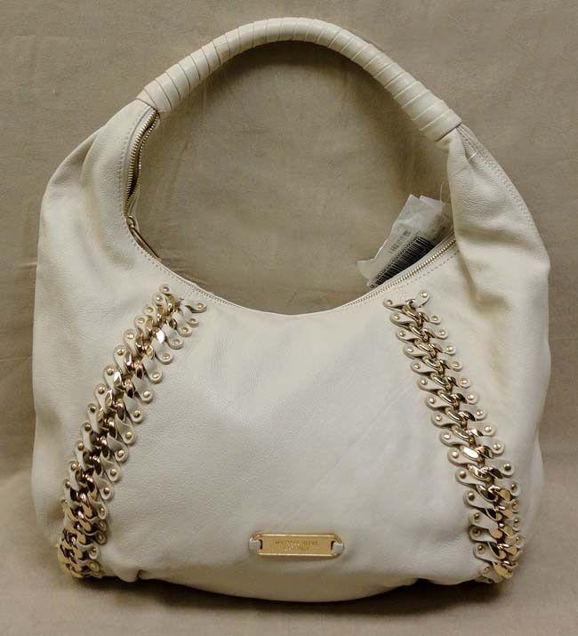 Auth Michael Kors Studded ID Chain LG Vanilla Leather Hobo Bag MSRP$