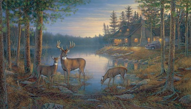 Log cabin wall paper joy studio design gallery best design for Deer mural wallpaper