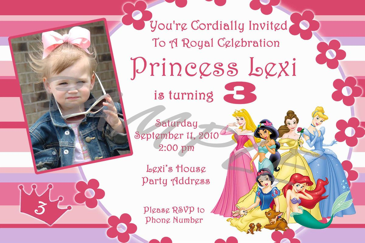 Disney Princess Personalized Birthday Invitations Party Favors
