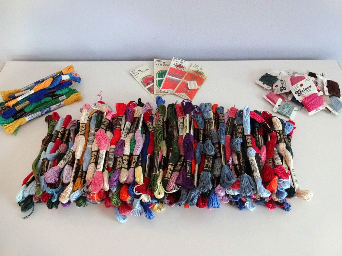 200 Skein Lot of DMC Embroidery Floss Cross Stitch Thread Needles