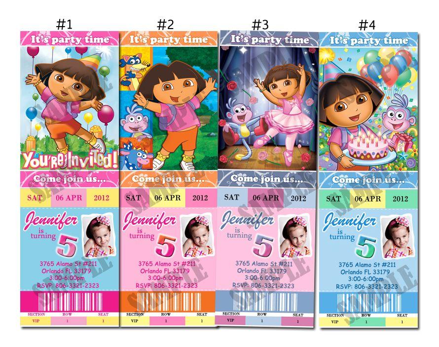 Dora The Explorer Go Diego Go Custom Birthday Party Invitation Ticket