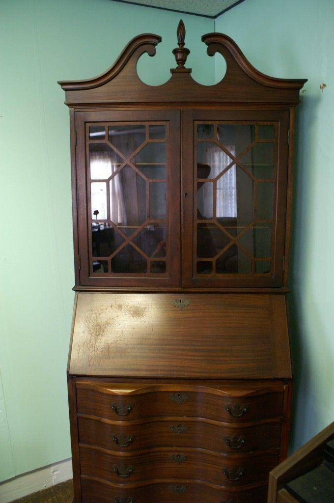Antique Mahogany Secretary Bookcase With Drop Down Desk