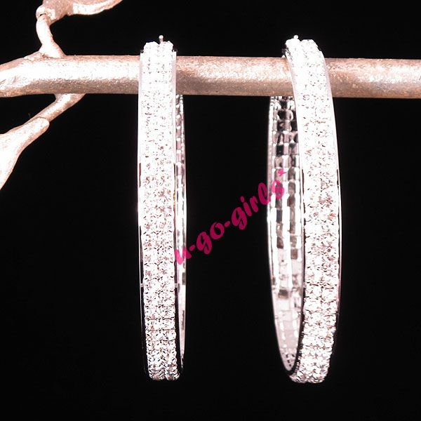 Double Rhinestone Hoop Earrings Gold Silver 4 Sizes