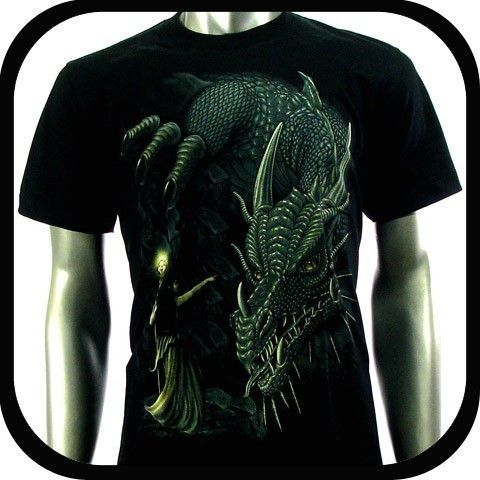 Rock Eagle T Shirt Biker Rider Tattoo RE97 Sz L Indie Dragon Graffiti