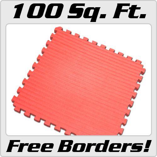Red 100 sqft Martial Arts Mat Jiu Jitsu Foam Puzzle Mats Gym