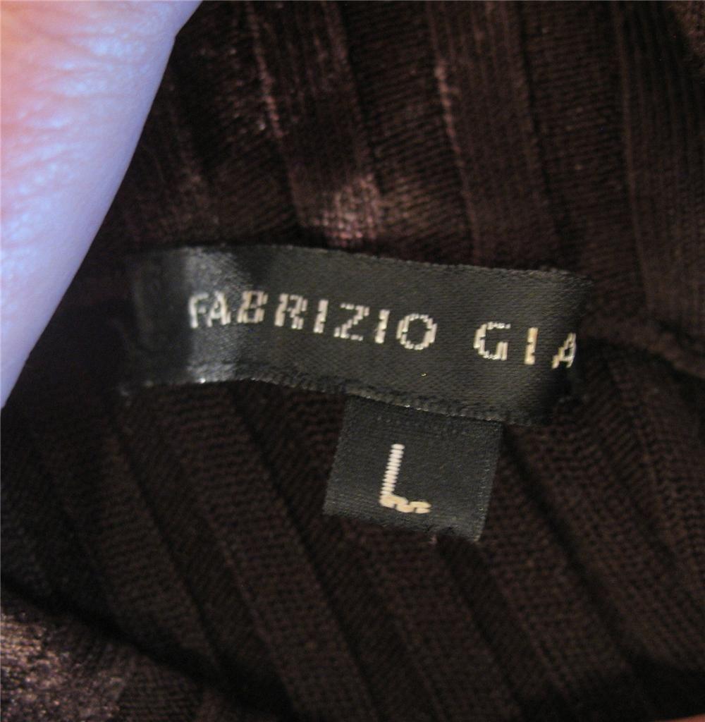 Fabrizio Gianni Brown Ribbed Zip Front Silk Wool Sweater L