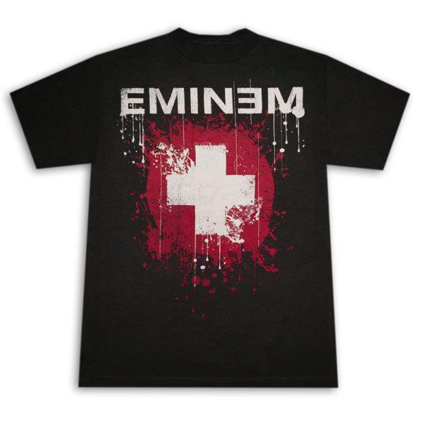 Eminem Splattered Cross Logo Black Graphic Tee Shirt