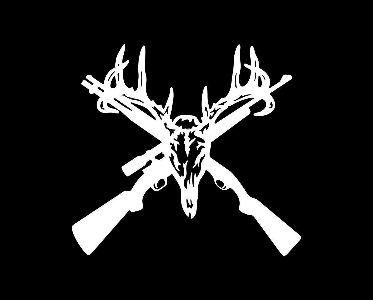 Deer Skull and Guns White Vinyl Car Window Sticker Decal