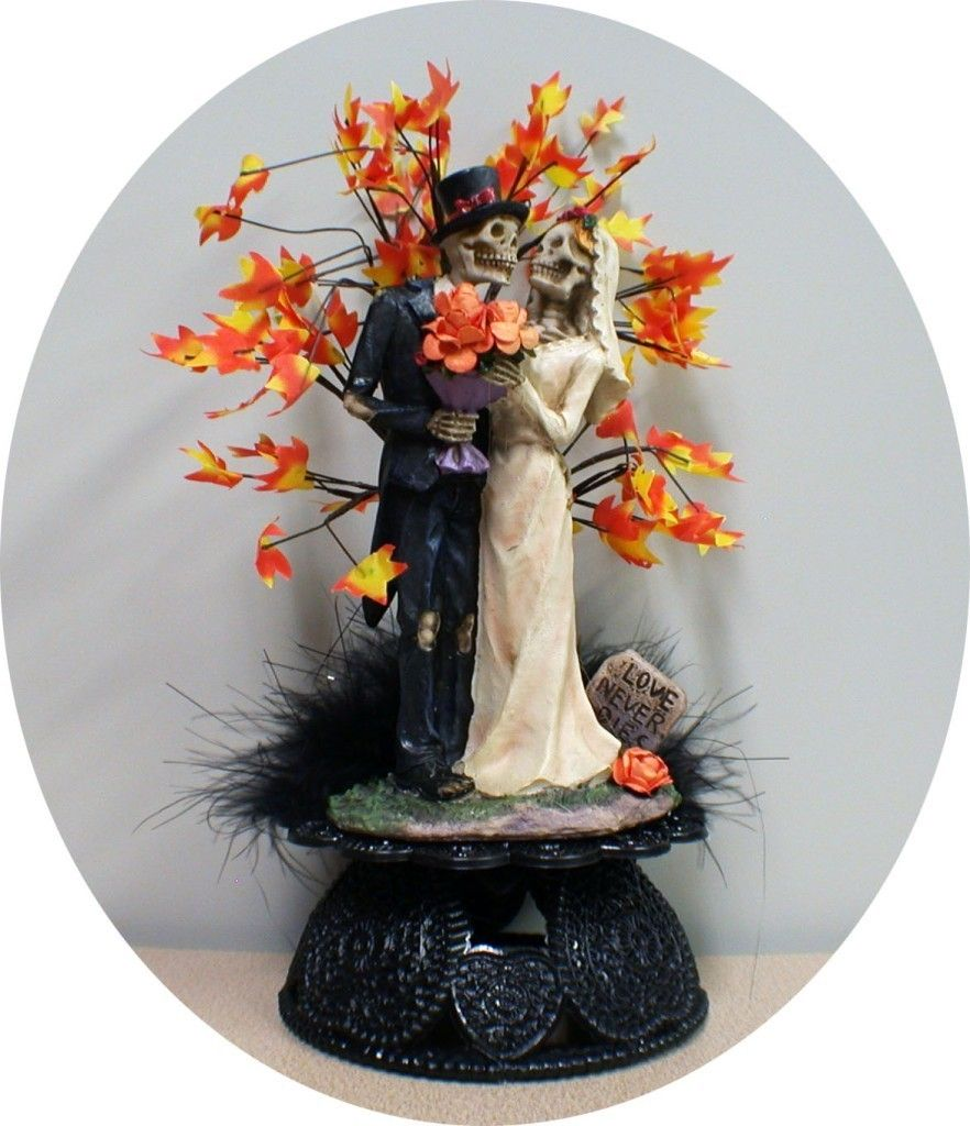 Fall Day of the DEAD Halloween Wedding Cake Topper bride Groom