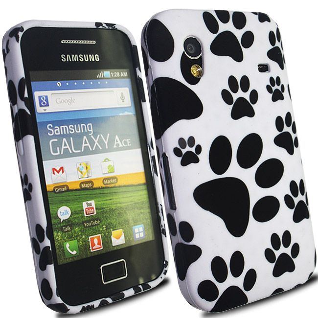 White Paws Footprint Silicone Gel SOT for Samsung Galaxy Ace S5830