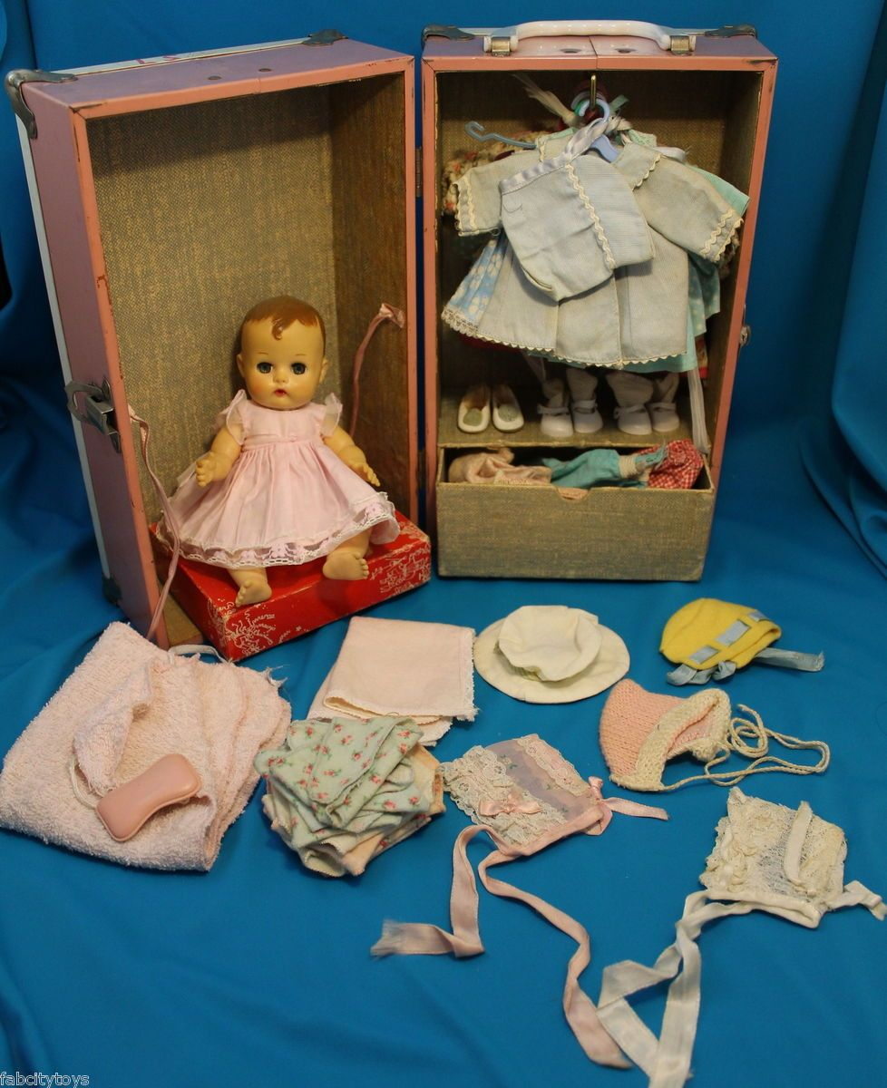 Vintage Vogue Ginette Doll with Case Clothes Diapers Blanket Bonnets