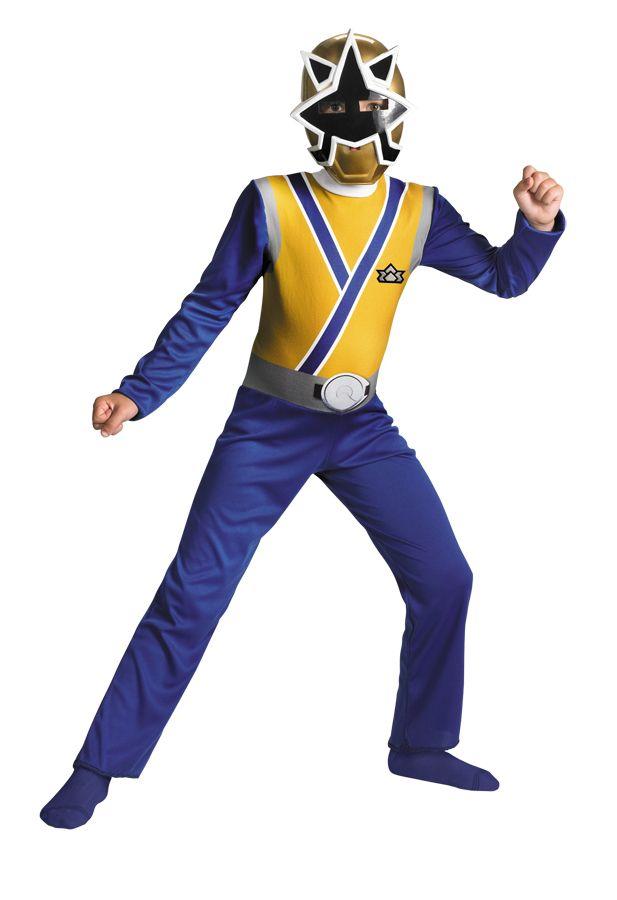 Boys Power Rangers Gold Blue Samurai Costume Dress Mask New