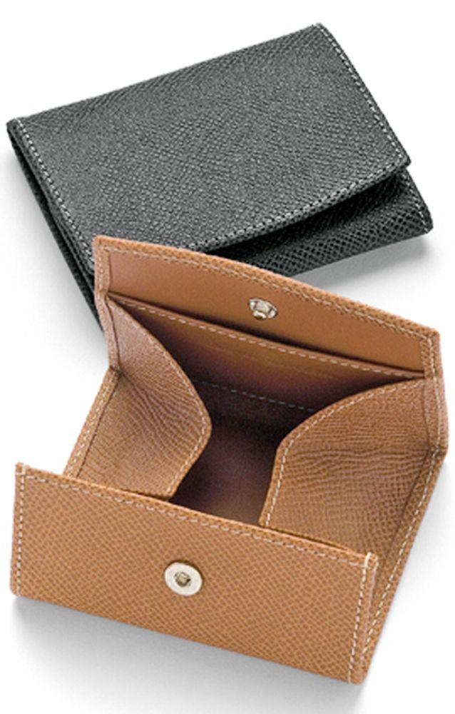 Graf Von Faber Castell Germany Grain Leather Coin Purse Wallet Black